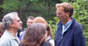 Profs. Peter Just (left) and James Nolan at a late summer party, 2006.